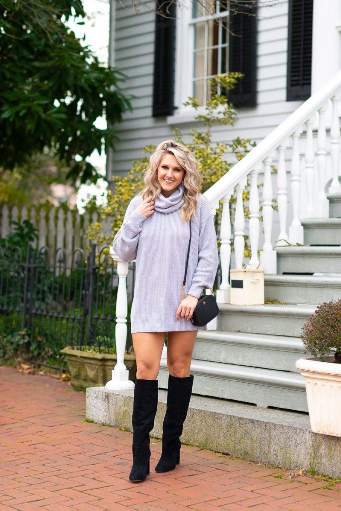 winter-fashion-pinterest-2019-loose-sweater-dress-gray-chelsea-adams-blog-revolve-dress-lenox-dress-turtleneck-winter-outfit-idea-2019-loose-sweater-dress-womens-look-1