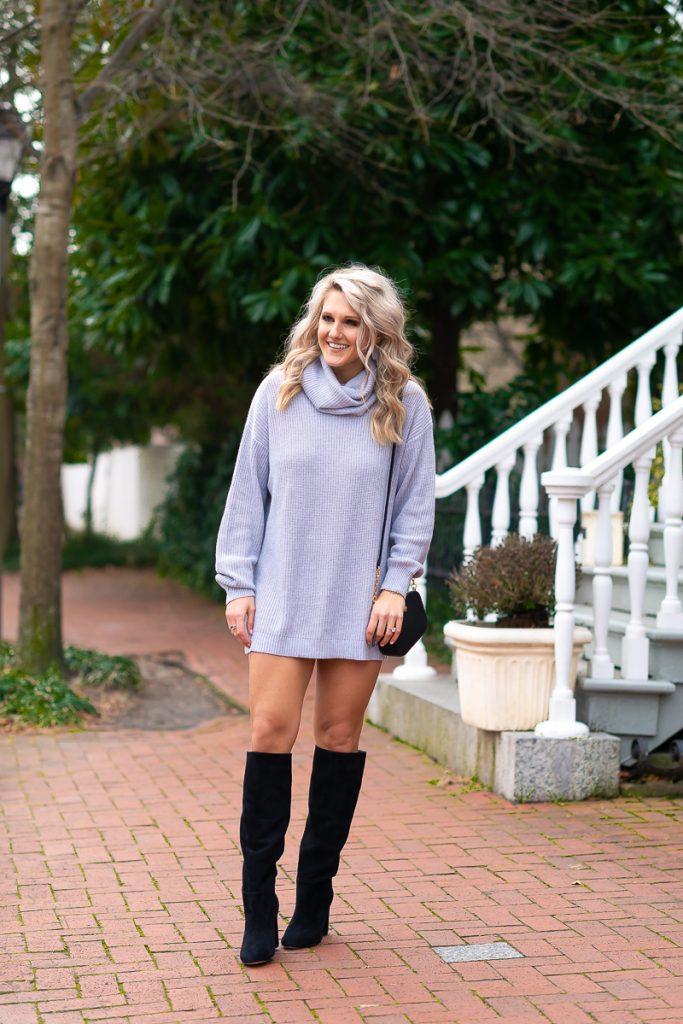 winter-fashion-pinterest-2019-loose-sweater-dress-gray-chelsea-adams-blog-revolve-dress-lenox-dress-turtleneck-winter-outfit-idea-2019-loose-sweater-dress-womens-look-norfolk-va