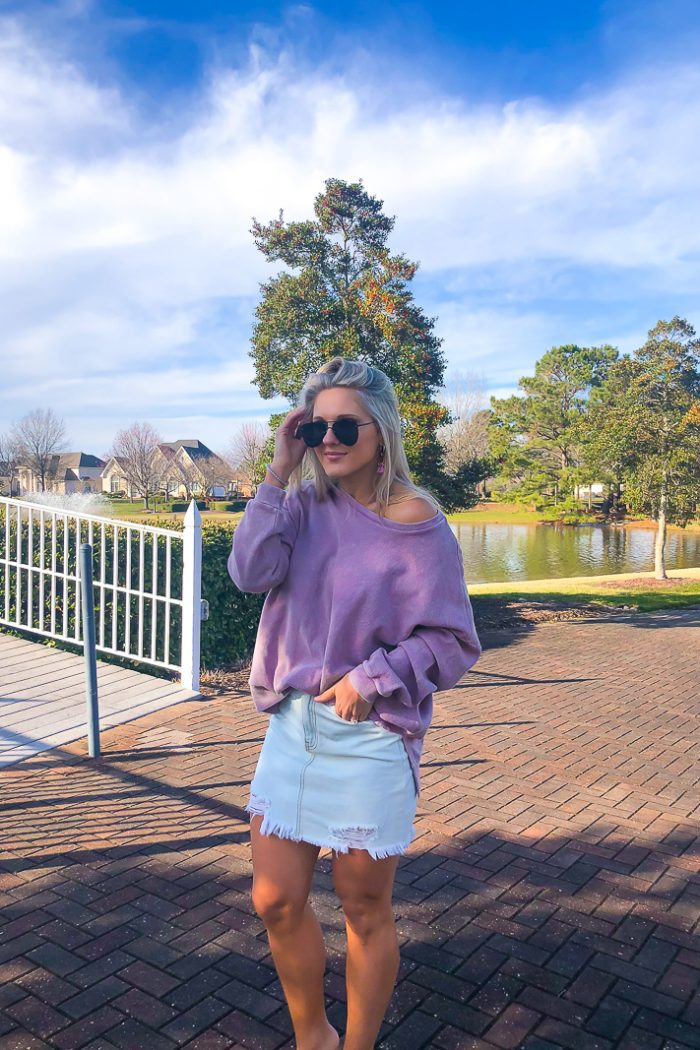 The Coziest Lavender Waffle Knit I've Been Living In